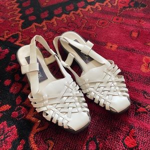 Strappy white woven leather slingbacks